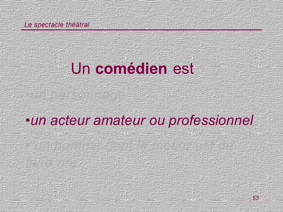 Le spectacle théâtral 53 Un comédien est un personnage un acteur amateur ou professionnel un homme dont le métier est de faire rire