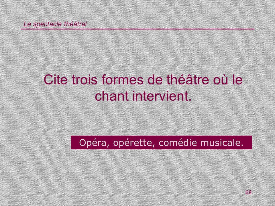 Le spectacle théâtral 68 Cite trois formes de théâtre où le chant intervient. Opéra, opérette, comédie musicale.