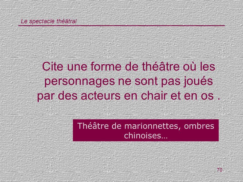 Le spectacle théâtral 70 Cite une forme de théâtre où les personnages ne sont pas joués par des acteurs en chair et en os. Théâtre de marionnettes, om