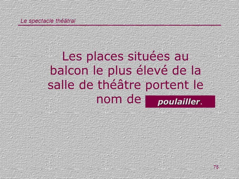 Le spectacle théâtral 75 Les places situées au balcon le plus élevé de la salle de théâtre portent le nom de … poulailler poulailler.