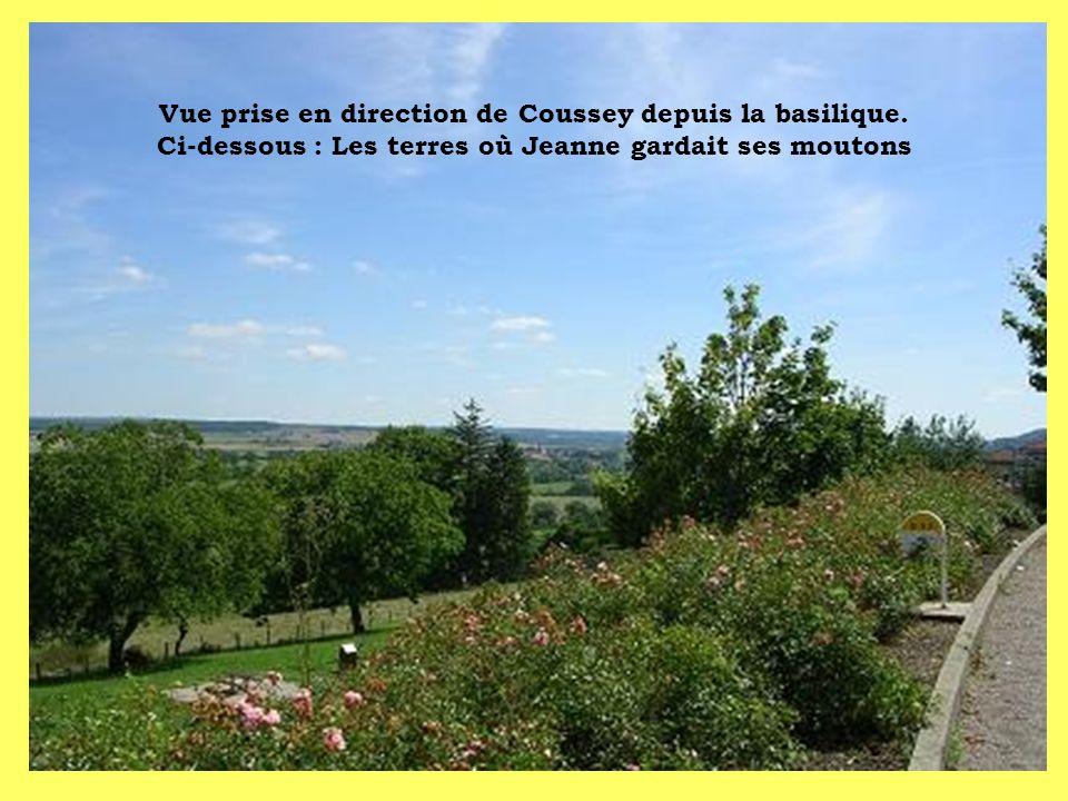 Vue prise en direction de Coussey depuis la basilique. Ci-dessous : Les terres où Jeanne gardait ses moutons