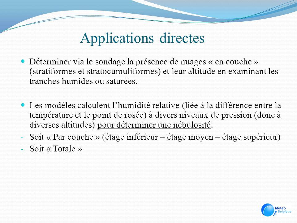 Applications directes Déterminer via le sondage la présence de nuages « en couche » (stratiformes et stratocumuliformes) et leur altitude en examinant