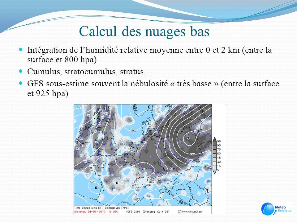 Calcul des nuages bas Intégration de lhumidité relative moyenne entre 0 et 2 km (entre la surface et 800 hpa) Cumulus, stratocumulus, stratus… GFS sou