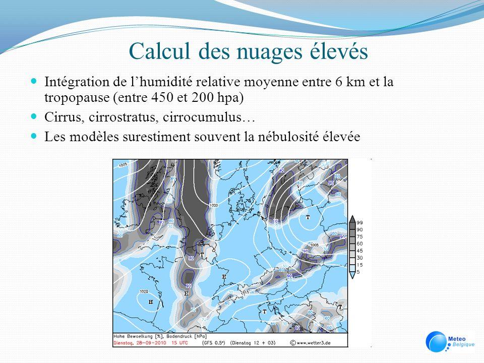 Calcul des nuages élevés Intégration de lhumidité relative moyenne entre 6 km et la tropopause (entre 450 et 200 hpa) Cirrus, cirrostratus, cirrocumul