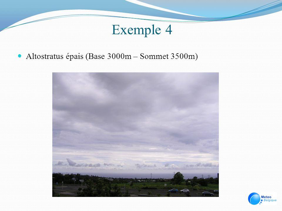 Exemple 4 Altostratus épais (Base 3000m – Sommet 3500m)