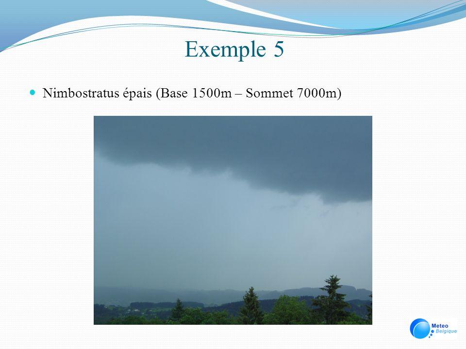 Exemple 5 Nimbostratus épais (Base 1500m – Sommet 7000m)