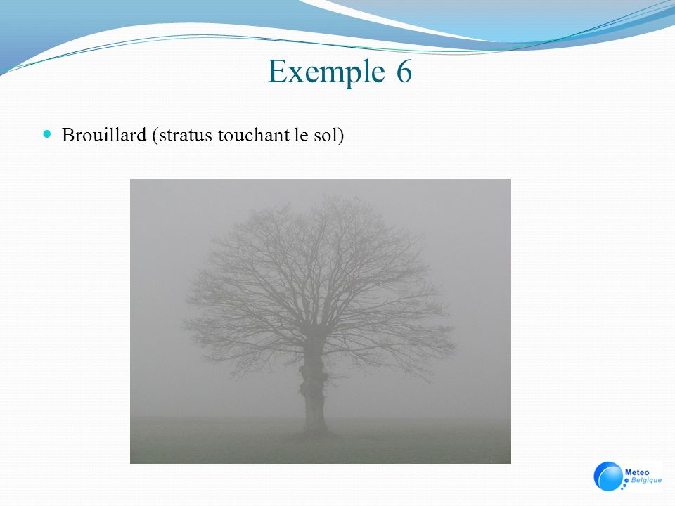 Exemple 6 Brouillard (stratus touchant le sol)
