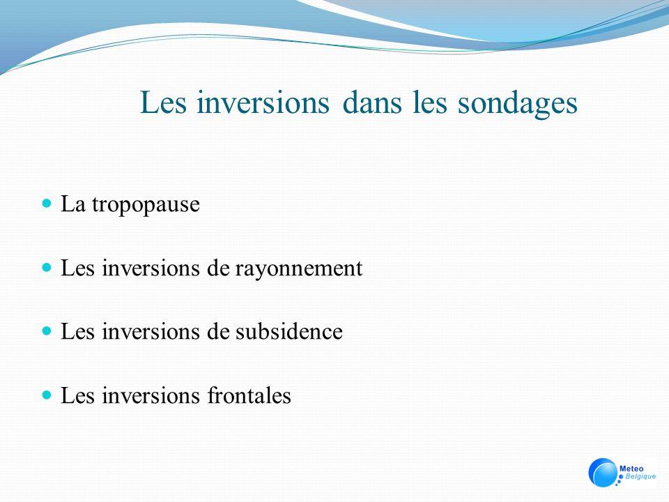Les inversions dans les sondages La tropopause Les inversions de rayonnement Les inversions de subsidence Les inversions frontales