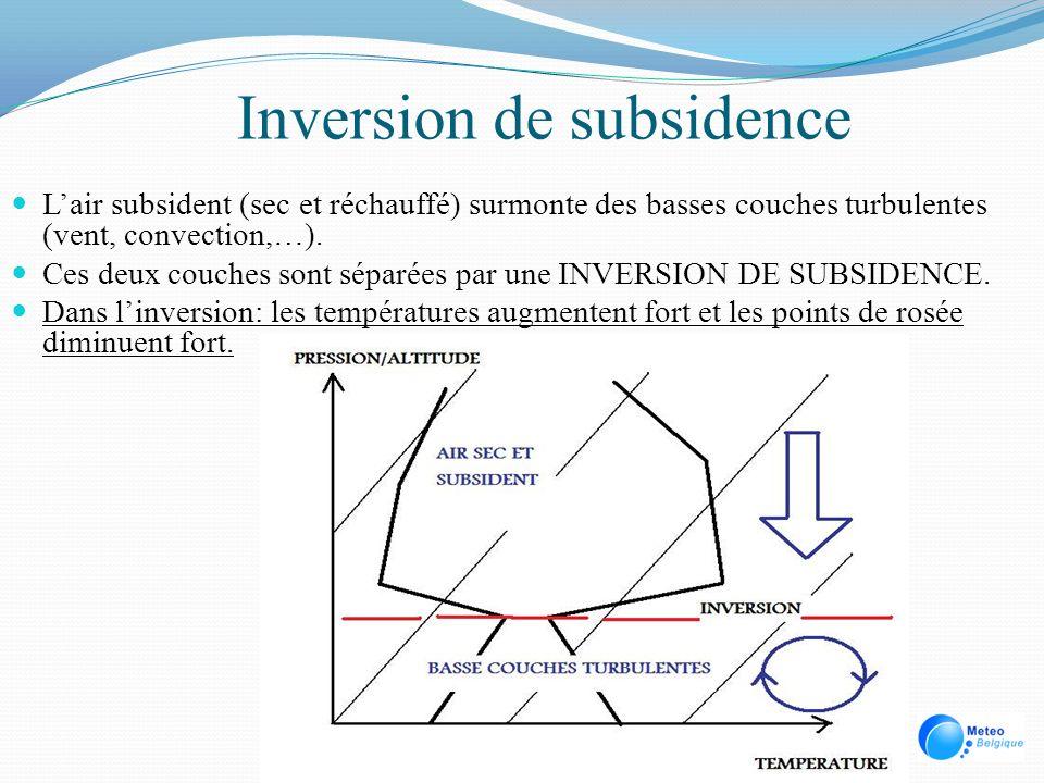 Inversion de subsidence Lair subsident (sec et réchauffé) surmonte des basses couches turbulentes (vent, convection,…). Ces deux couches sont séparées