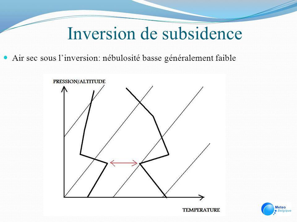 Inversion de subsidence Air sec sous linversion: nébulosité basse généralement faible