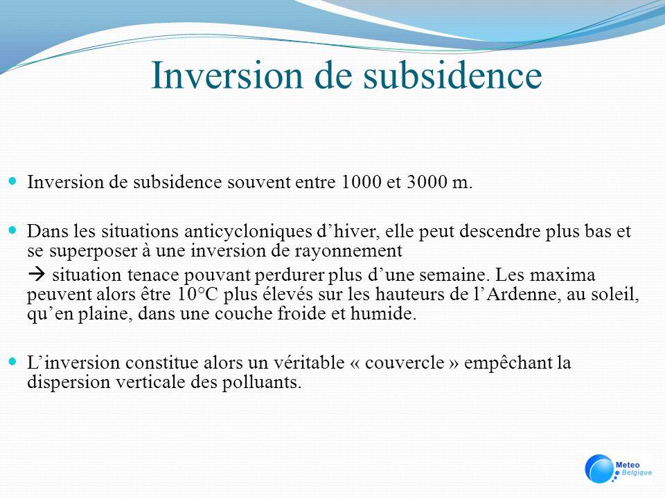 Inversion de subsidence Inversion de subsidence souvent entre 1000 et 3000 m. Dans les situations anticycloniques dhiver, elle peut descendre plus bas
