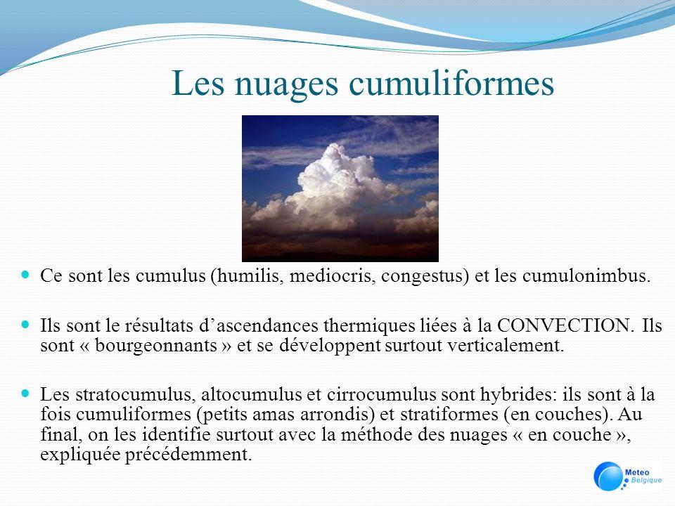Les nuages cumuliformes Ce sont les cumulus (humilis, mediocris, congestus) et les cumulonimbus. Ils sont le résultats dascendances thermiques liées à