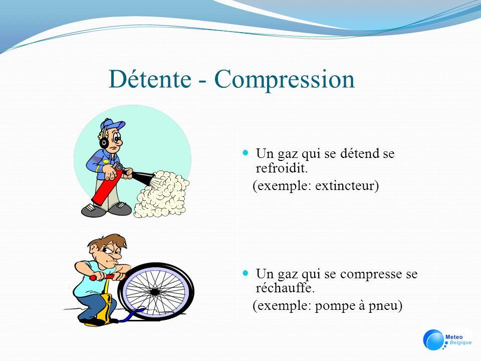 Détente - Compression Un gaz qui se détend se refroidit. (exemple: extincteur) Un gaz qui se compresse se réchauffe. (exemple: pompe à pneu)