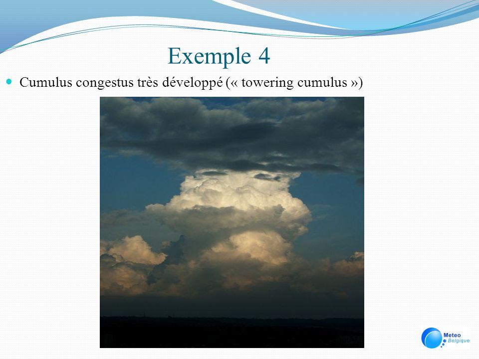 Exemple 4 Cumulus congestus très développé (« towering cumulus »)