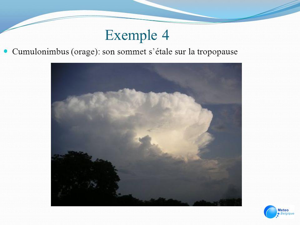 Exemple 4 Cumulonimbus (orage): son sommet sétale sur la tropopause