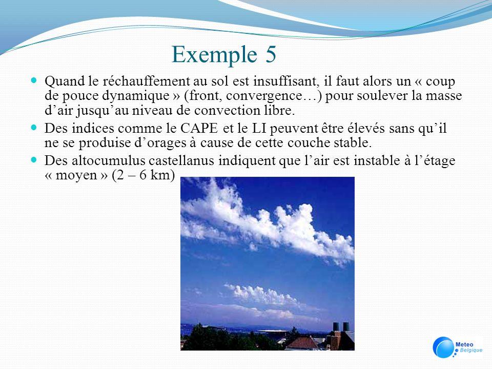 Exemple 5 Quand le réchauffement au sol est insuffisant, il faut alors un « coup de pouce dynamique » (front, convergence…) pour soulever la masse dai