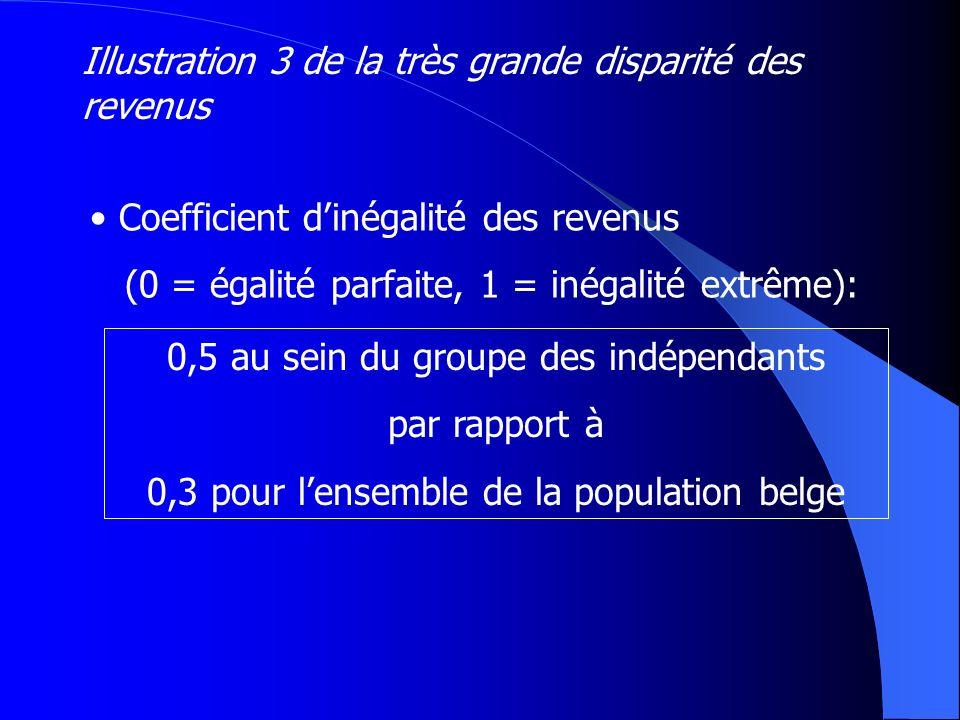Coefficient dinégalité des revenus (0 = égalité parfaite, 1 = inégalité extrême): Illustration 3 de la très grande disparité des revenus 0,5 au sein d