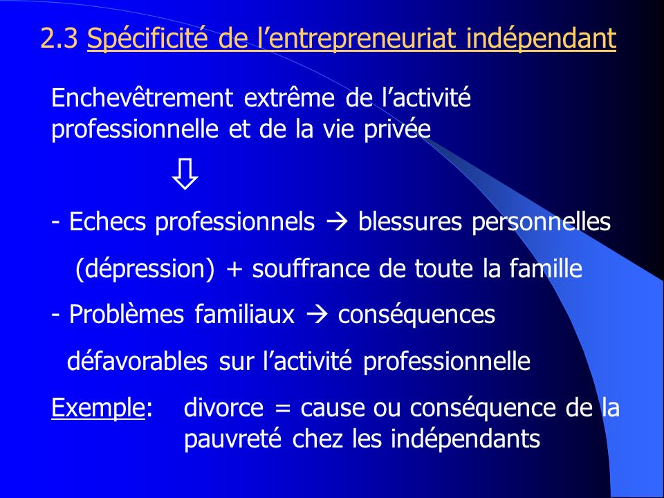 2.3 Spécificité de lentrepreneuriat indépendant Enchevêtrement extrême de lactivité professionnelle et de la vie privée - Echecs professionnels blessu