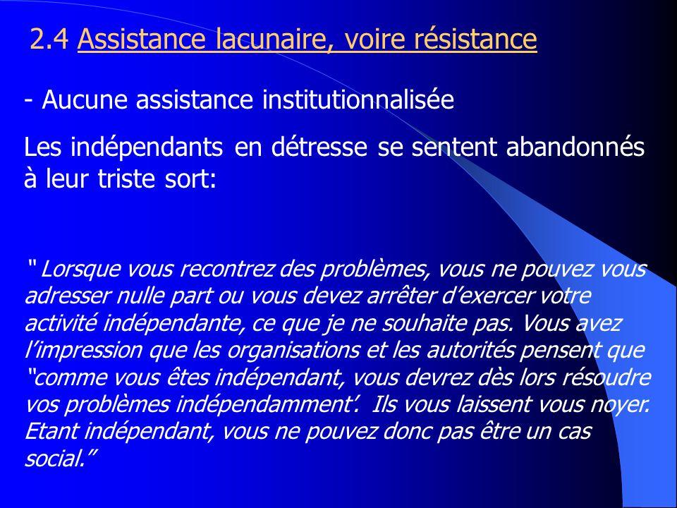 2.4 Assistance lacunaire, voire résistance - Aucune assistance institutionnalisée Les indépendants en détresse se sentent abandonnés à leur triste sor