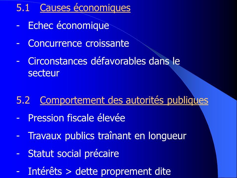 5.1Causes économiques -Echec économique -Concurrence croissante -Circonstances défavorables dans le secteur 5.2Comportement des autorités publiques -P