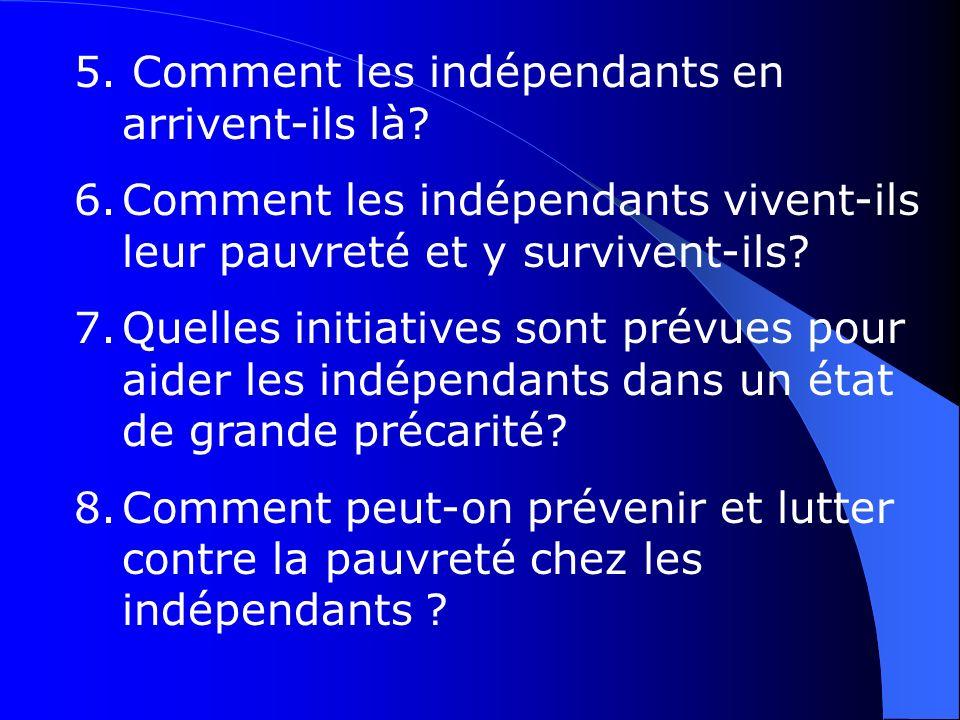 5. Comment les indépendants en arrivent-ils là? 6.Comment les indépendants vivent-ils leur pauvreté et y survivent-ils? 7.Quelles initiatives sont pré