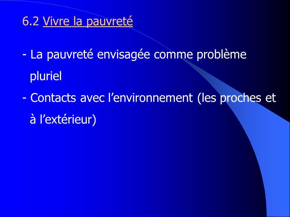 6.2 Vivre la pauvreté - La pauvreté envisagée comme problème pluriel - Contacts avec lenvironnement (les proches et à lextérieur)