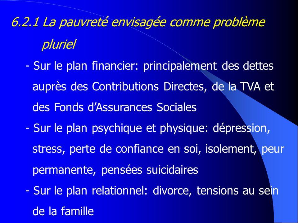6.2.1 La pauvreté envisagée comme problème pluriel - Sur le plan financier: principalement des dettes auprès des Contributions Directes, de la TVA et