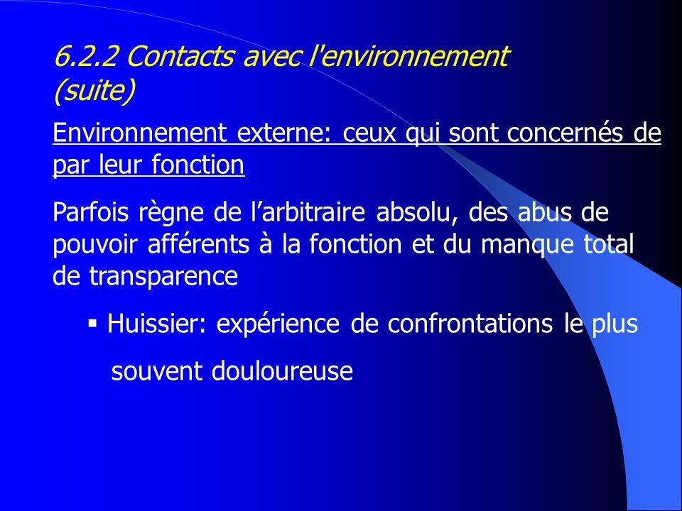 Environnement externe: ceux qui sont concernés de par leur fonction Parfois règne de larbitraire absolu, des abus de pouvoir afférents à la fonction e
