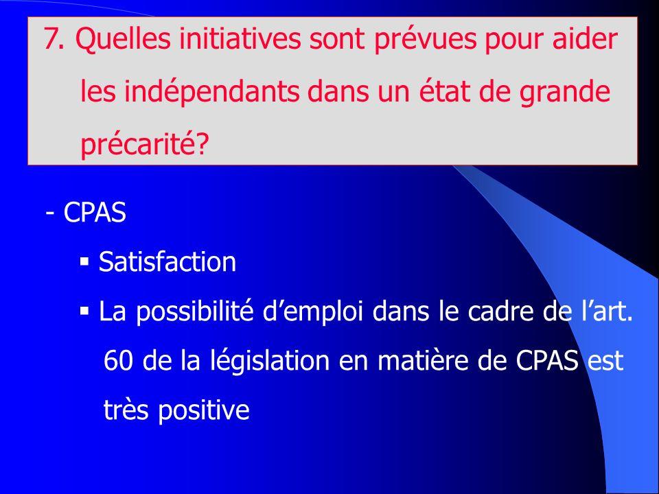 7. Quelles initiatives sont prévues pour aider les indépendants dans un état de grande précarité? - CPAS Satisfaction La possibilité demploi dans le c