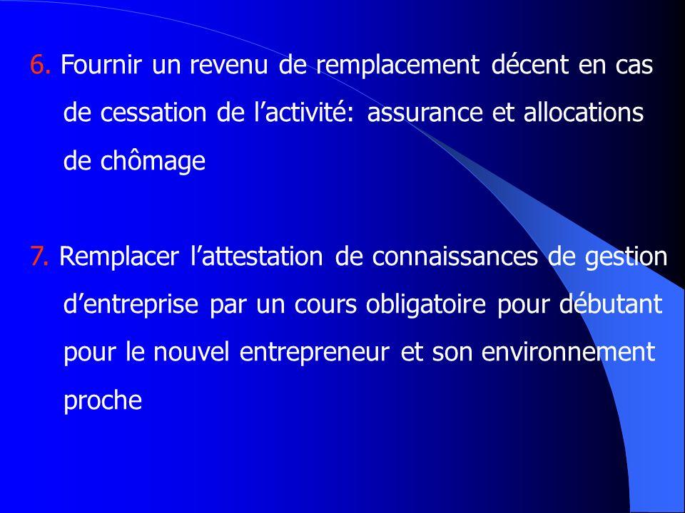 6. Fournir un revenu de remplacement décent en cas de cessation de lactivité: assurance et allocations de chômage 7. Remplacer lattestation de connais