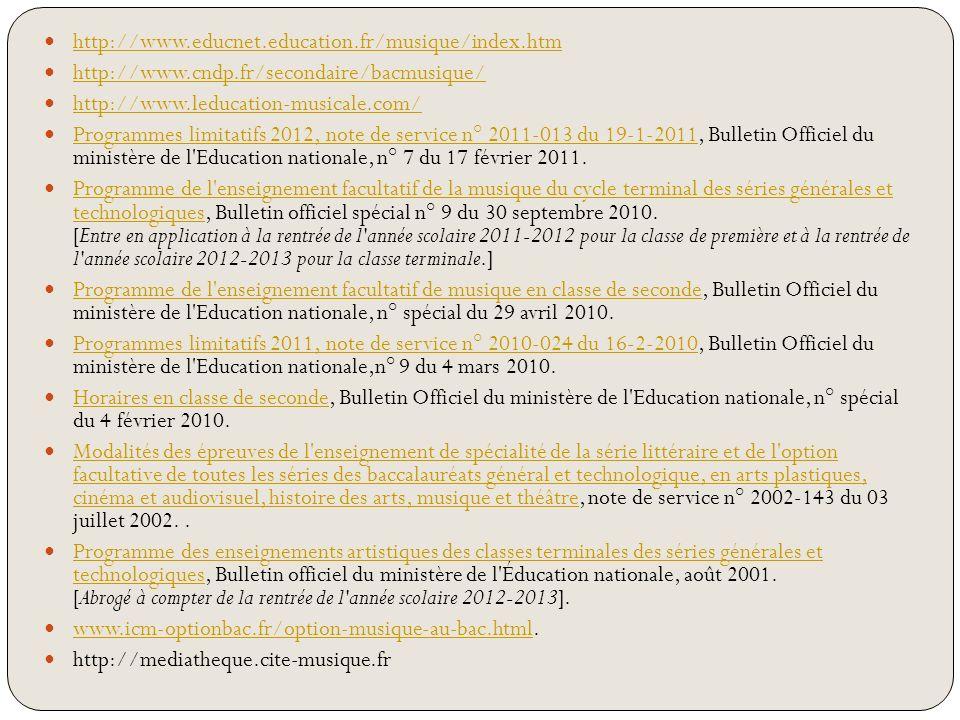 http://www.educnet.education.fr/musique/index.htm http://www.cndp.fr/secondaire/bacmusique/ http://www.leducation-musicale.com/ Programmes limitatifs