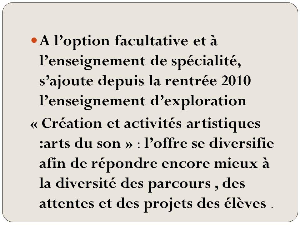A loption facultative et à lenseignement de spécialité, sajoute depuis la rentrée 2010 lenseignement dexploration « Création et activités artistiques