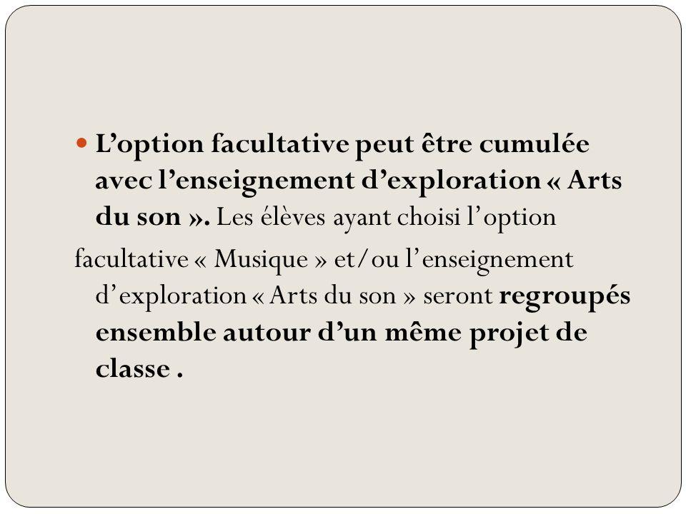 Loption facultative peut être cumulée avec lenseignement dexploration « Arts du son ». Les élèves ayant choisi loption facultative « Musique » et/ou l