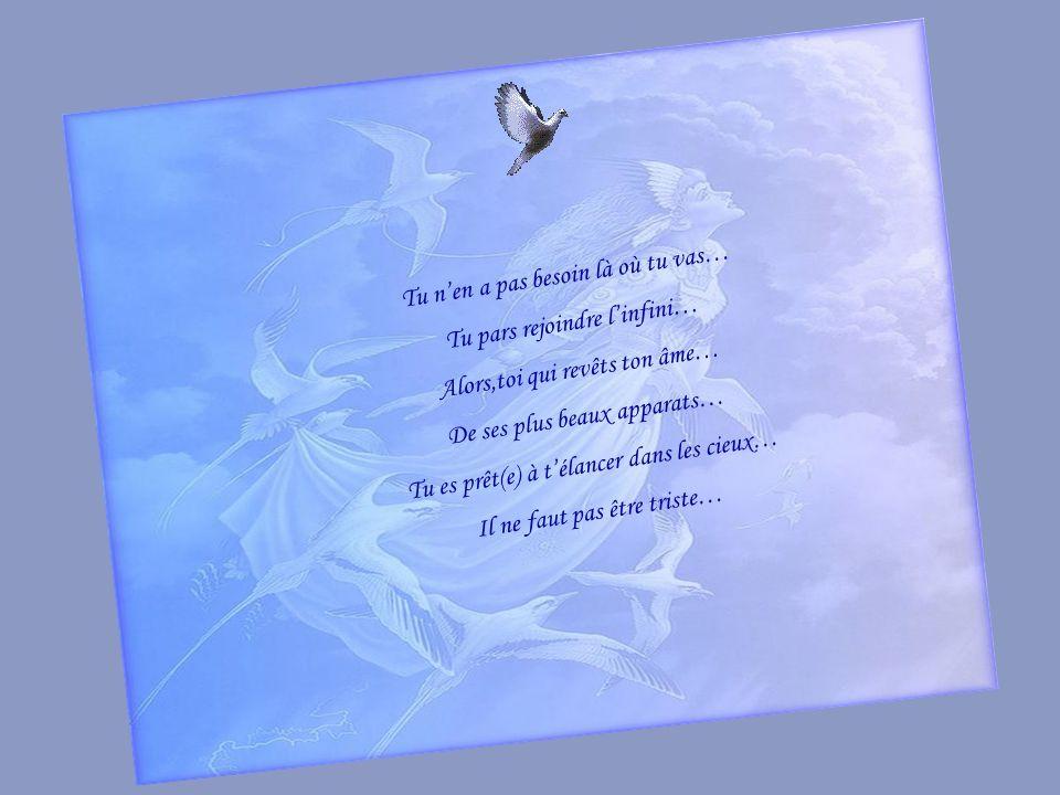 Tu nen a pas besoin là où tu vas… Tu pars rejoindre linfini… Alors,toi qui revêts ton âme… De ses plus beaux apparats… Tu es prêt(e) à télancer dans les cieux… Il ne faut pas être triste…