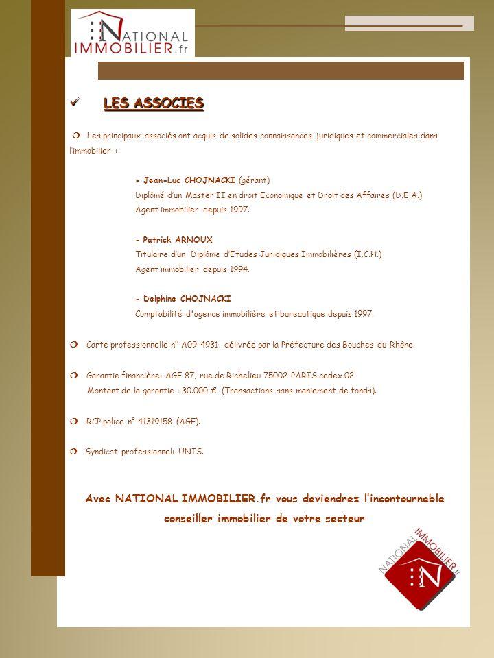 LES ASSOCIES LES ASSOCIES Les principaux associés ont acquis de solides connaissances juridiques et commerciales dans limmobilier : - Jean-Luc CHOJNAC