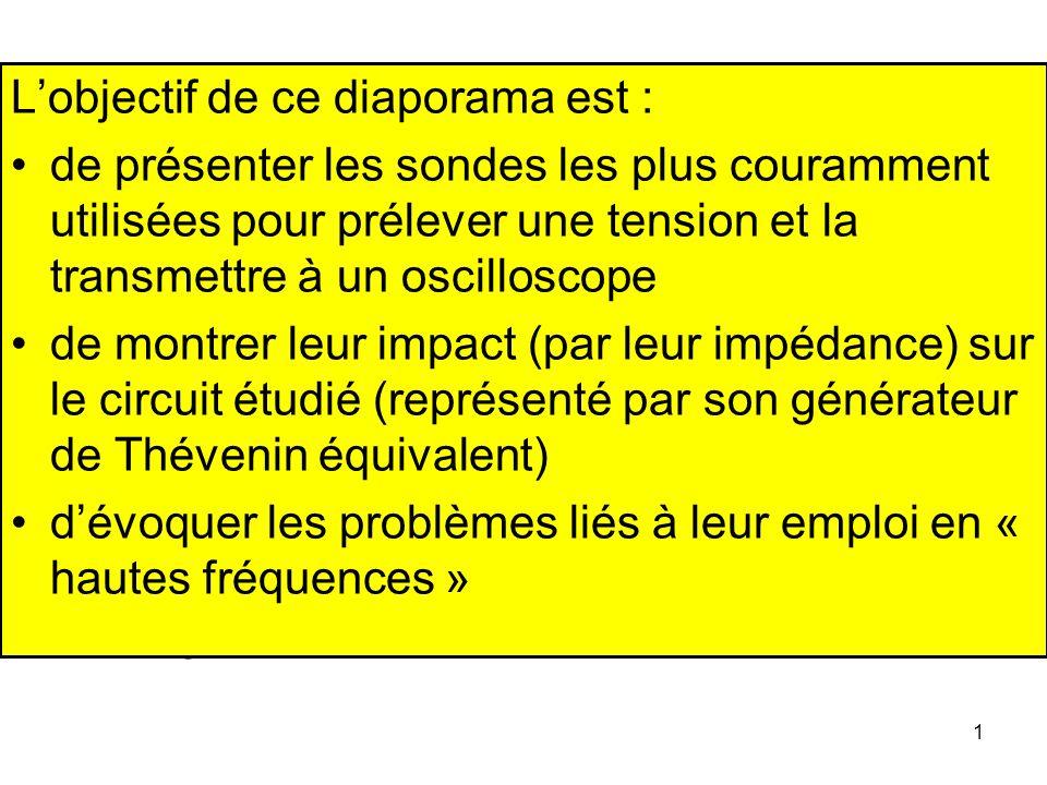 1 Jacques BAUDET Ingénieur CNRS honoraire Université des Sciences et Technologies de Lille Lobjectif de ce diaporama est : de présenter les sondes les
