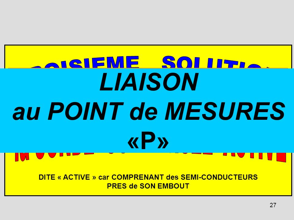 27 DITE « ACTIVE » car COMPRENANT des SEMI-CONDUCTEURS PRES de SON EMBOUT la PARTIE « ACTIVE » se TROUVE PRES de lEMBOUT, dans le CORPS de la SONDE. E