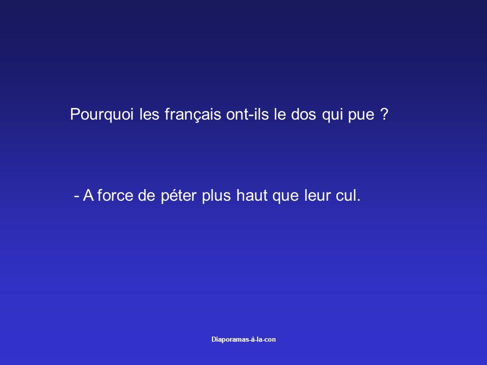 Diaporamas-à-la-con Pourquoi les français ont-ils le dos qui pue ? - A force de péter plus haut que leur cul.