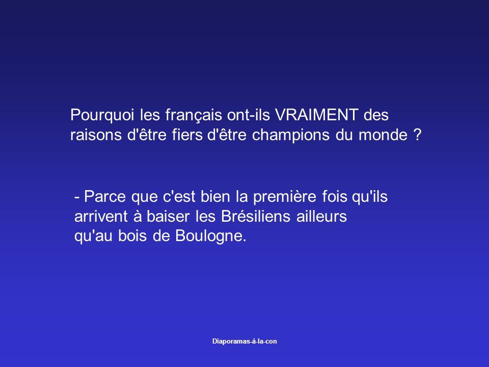 Diaporamas-à-la-con Pourquoi les français ont-ils VRAIMENT des raisons d'être fiers d'être champions du monde ? - Parce que c'est bien la première foi