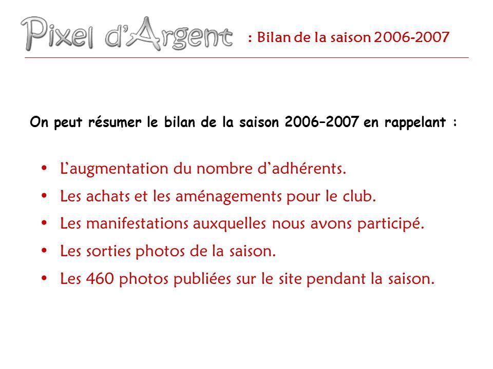 : Bilan de la saison 2006-2007 Laugmentation du nombre dadhérents : De 9 membres … Les 7 de la photo + Loïc + Gwendo.