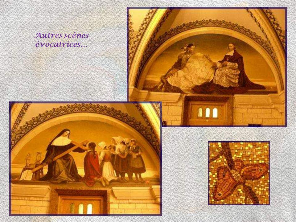 Diverses scènes réalisées par le peintre Frédéric Doyon, ornent les murs. Ici, elles évoquent les premiers temps de la Colonie.