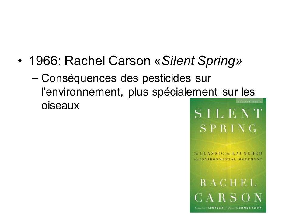 1966: Rachel Carson «Silent Spring» –Conséquences des pesticides sur lenvironnement, plus spécialement sur les oiseaux