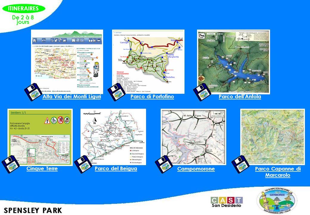 De 2 à 8 jours Alta Via dei Monti Liguri Parco di PortofinoParco dell'Antola Cinque TerreParco del Beigua Campomorone Parco Capanne di Marcarolo ITINE