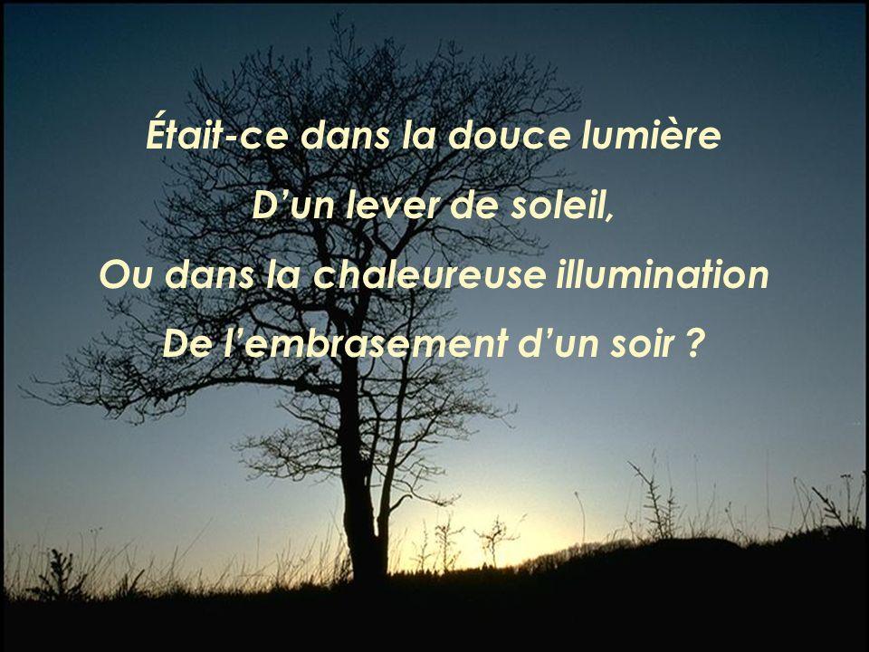 Était-ce dans la douce lumière Dun lever de soleil, Ou dans la chaleureuse illumination De lembrasement dun soir ?