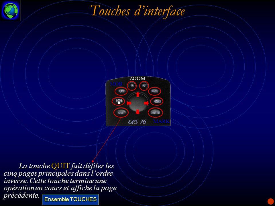 Touches dinterface La touche QUIT fait défiler les cinq pages principales dans lordre inverse. Cette touche termine une opération en cours et affiche