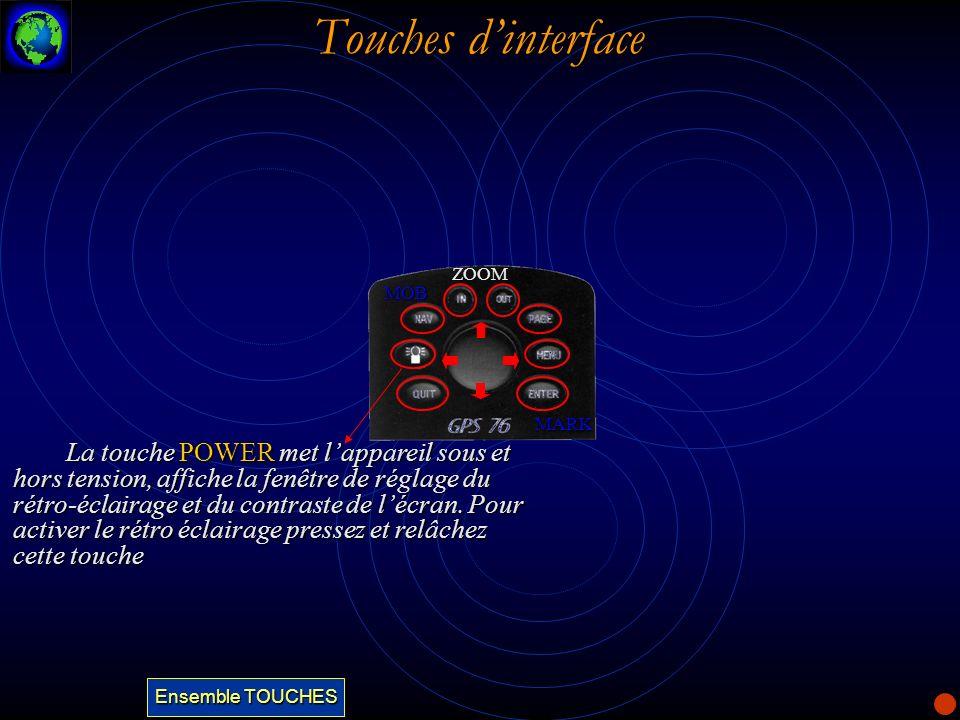 Touches dinterface La touche POWER met lappareil sous et hors tension, affiche la fenêtre de réglage du rétro-éclairage et du contraste de lécran. Pou