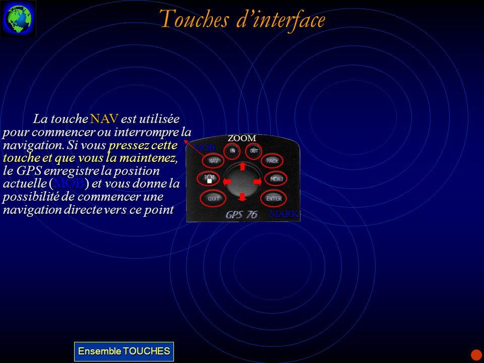 Touches dinterface La touche NAV est utilisée pour commencer ou interrompre la navigation. Si vous pressez cette touche et que vous la maintenez, le G