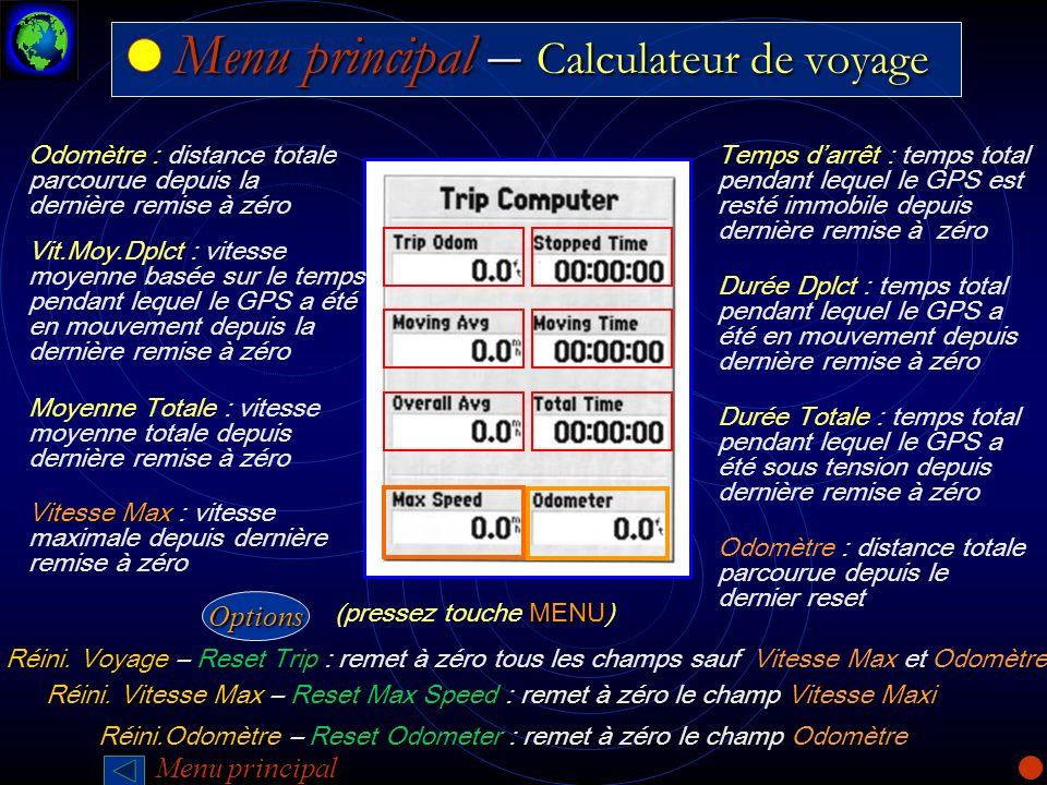 Menu principal – Calculateur de voyage Menu principal – Calculateur de voyage Odomètre : distance totale parcourue depuis la dernière remise à zéro Od