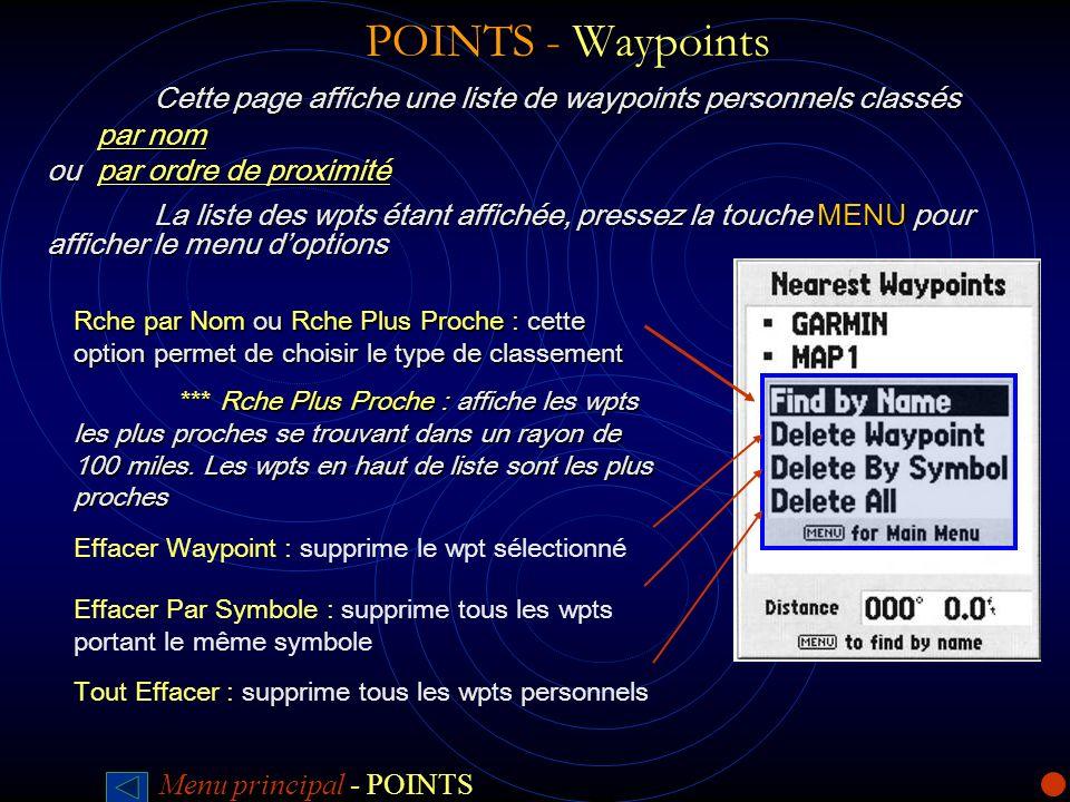 POINTS - Waypoints POINTS - Waypoints Cette page affiche une liste de waypoints personnels classés par nom par nom ou par ordre de proximité La liste