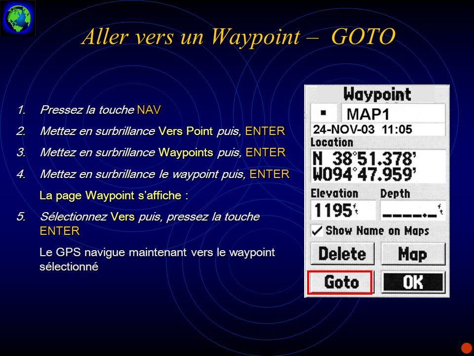 Aller vers un Waypoint – GOTO 1.Pressez la touche NAV 2.Mettez en surbrillance Vers Point puis, ENTER 3.Mettez en surbrillance Waypoints puis, ENTER 4